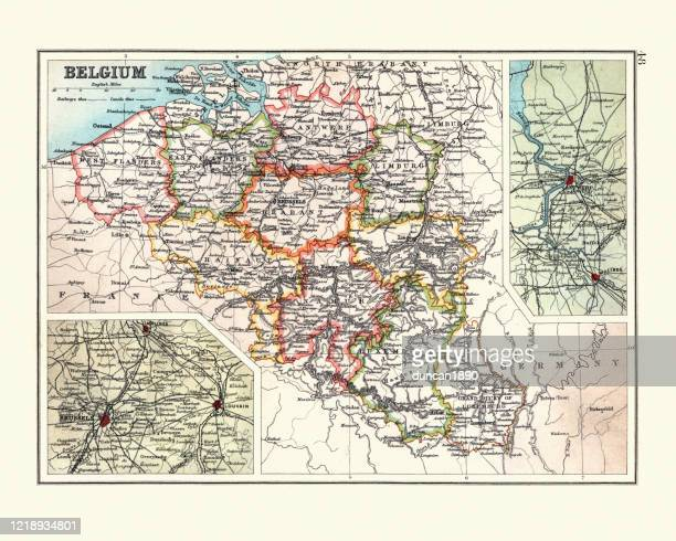 illustrazioni stock, clip art, cartoni animati e icone di tendenza di antique map of belgium, with detail on brussels and antwerp - belgio