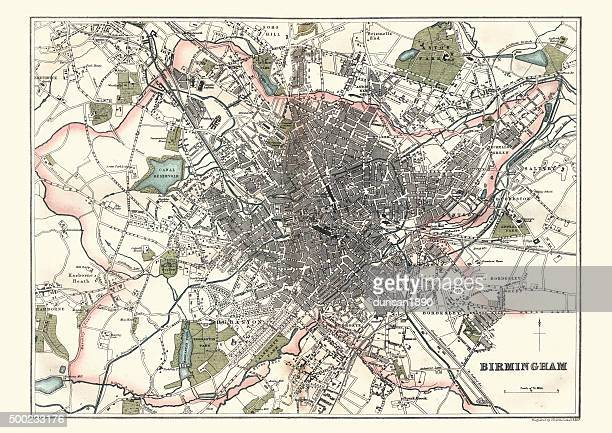 antique map of birmingham, england, 1880 - west midlands stock illustrations