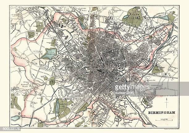 Antique Map of Birmingham, England, 1880