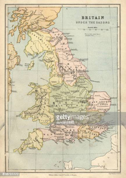 Antique map of Britain under the Anglo Saxons