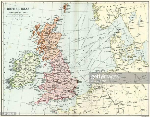 Antique map of British Isles and Surrounding Seas