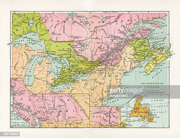 antique map of canada - lake ontario stock illustrations, clip art, cartoons, & icons