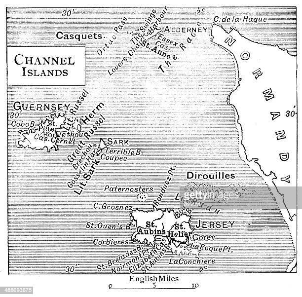 ilustrações, clipart, desenhos animados e ícones de mapa antigo das ilhas do canal - normandy