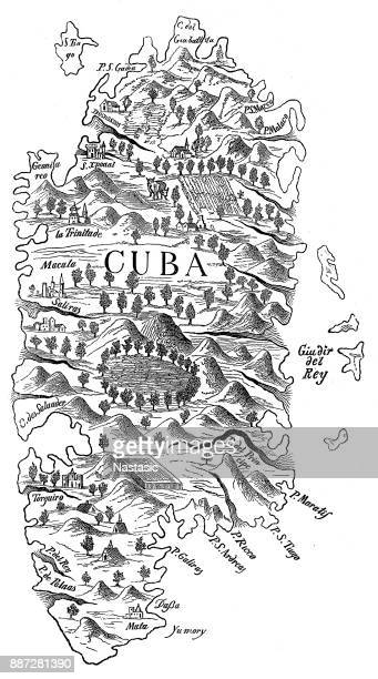antique map of cuba - cuban culture stock illustrations, clip art, cartoons, & icons