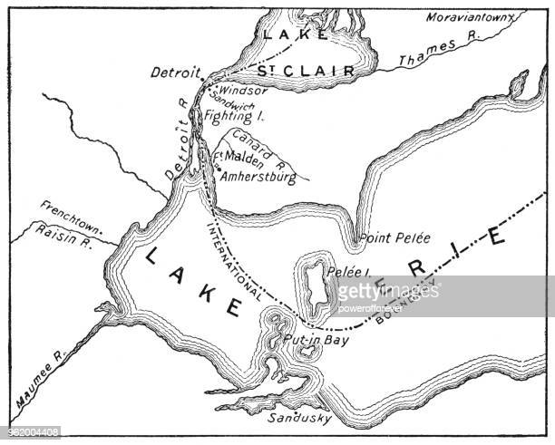 antique map of detroit area during the war of 1812 - 19th century - lake erie stock illustrations, clip art, cartoons, & icons