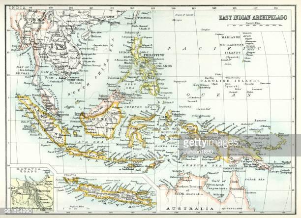 illustrazioni stock, clip art, cartoni animati e icone di tendenza di mappa antica dell'arcipelago delle indie orientali - indonesia
