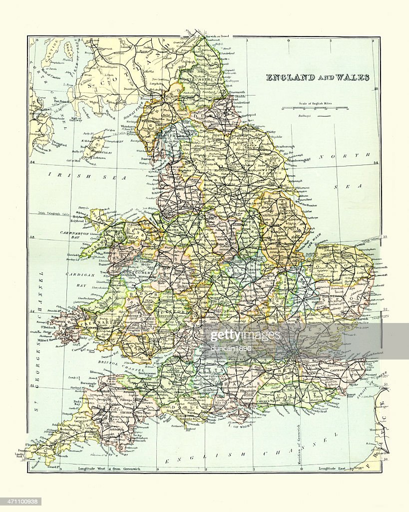 Map Of S England.Antique Map Of England And Wales 1880s Stock Illustration Getty Images