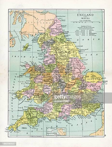 antique map of england and wales - northeastern england stock illustrations, clip art, cartoons, & icons