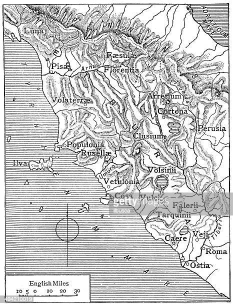 antique map of etruria (tuscany) - etruscan stock illustrations