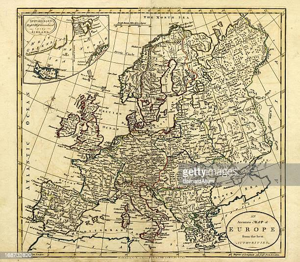 antique map of europe, 1785 - eastern europe stock illustrations, clip art, cartoons, & icons