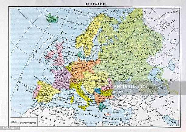 antique map of europe (french) - western europe stock illustrations