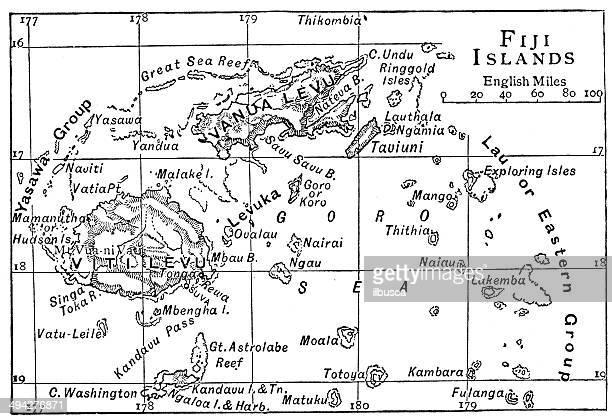 Antique map of Fiji Islands