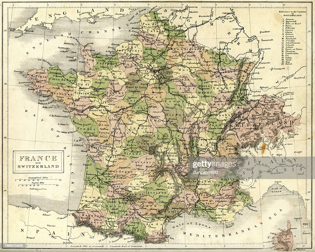Map Of France And Switzerland Border.Antique Map Of France And Switzerland Stock Illustration Getty Images
