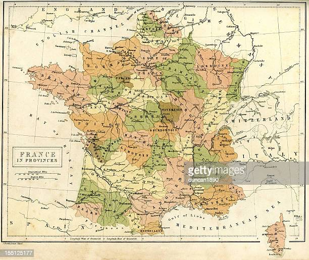 antique map of france - lorraine stock illustrations