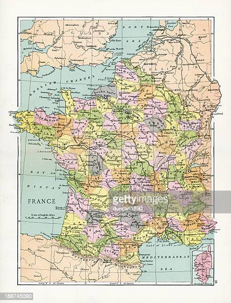 antique map of france - champagne region stock illustrations, clip art, cartoons, & icons