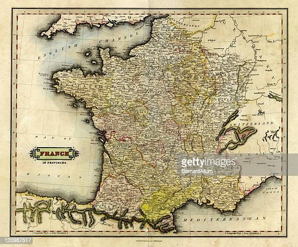 antique map of france in provinces, 1831 - normandy stock illustrations, clip art, cartoons, & icons