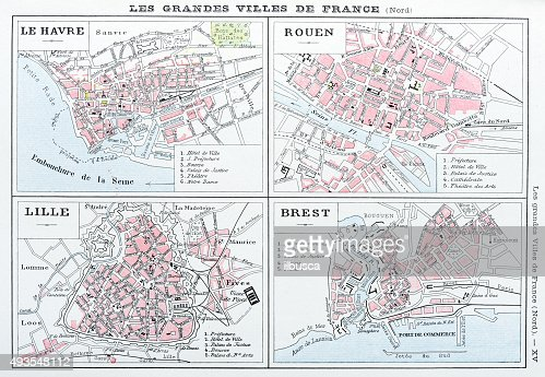 Map Of France Le Havre.Antique Map Of French Cities Le Havre Rouen Lille Brest Stock