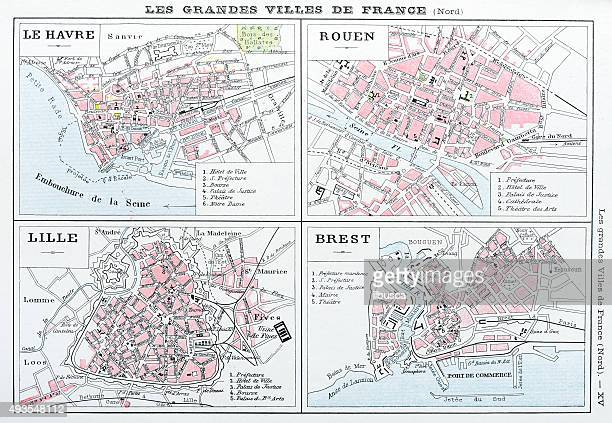 Antique map of French cities: Le Havre, Rouen, Lille, Brest