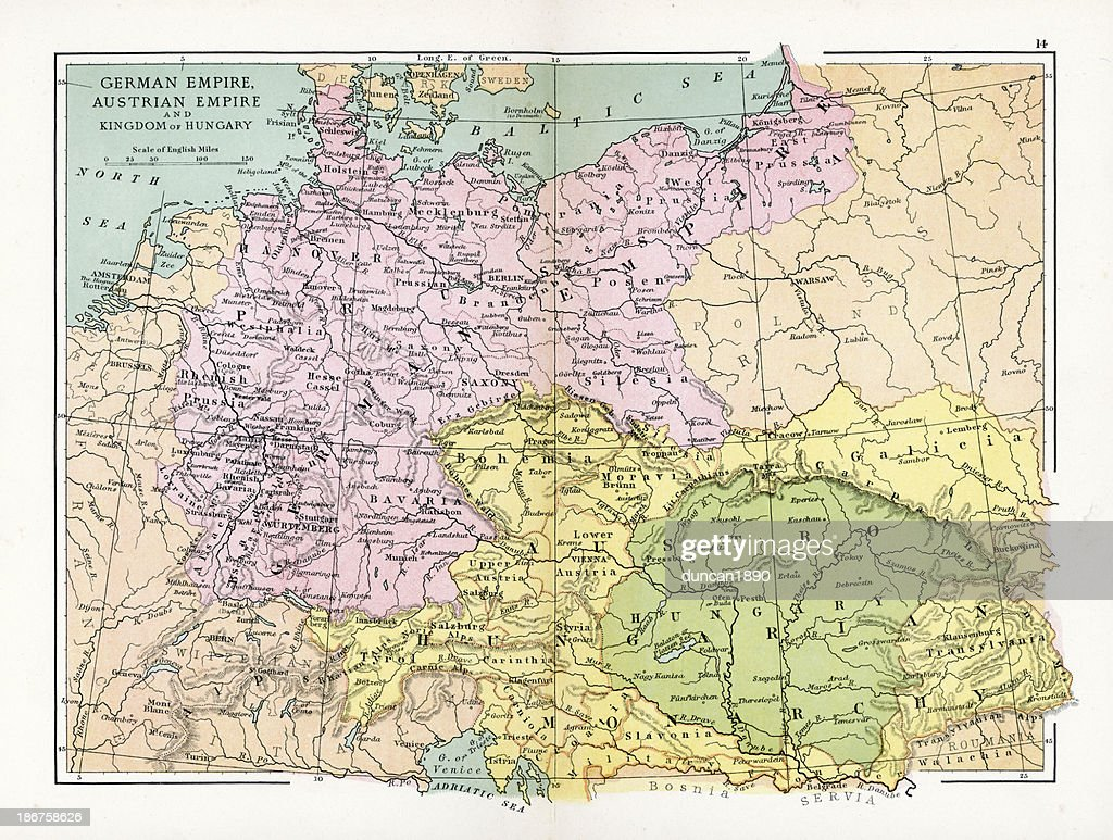 Map Of Germany Austria.Antique Map Of Germany Austria And Hungary Stock Illustration