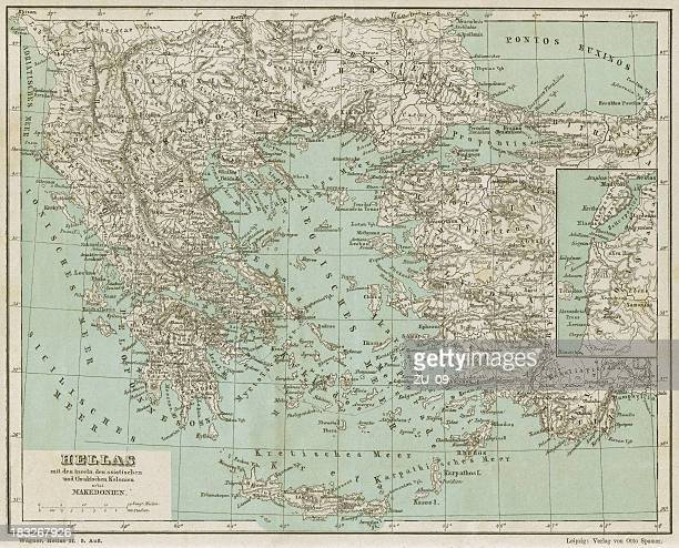 antique map of greece. lithograph, published in 1882 - athens georgia stock illustrations, clip art, cartoons, & icons