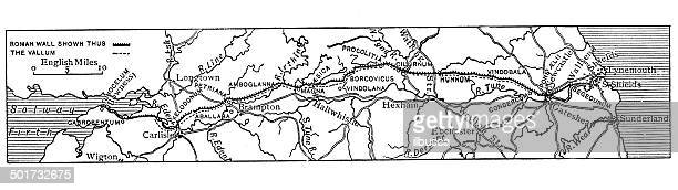 antique map of hadrian's wall - northeastern england stock illustrations, clip art, cartoons, & icons