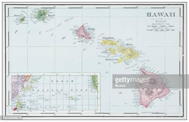 antike karte von hawaii - hawaii inselgruppe stock-grafiken, -clipart, -cartoons und -symbole