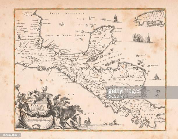 ilustraciones, imágenes clip art, dibujos animados e iconos de stock de mapa antiguo de yucatán de honduras y méxico 1671 - cristobal colon