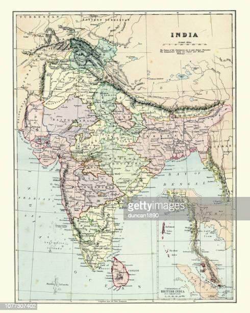 Antique map of India, 1880s, 19th Century
