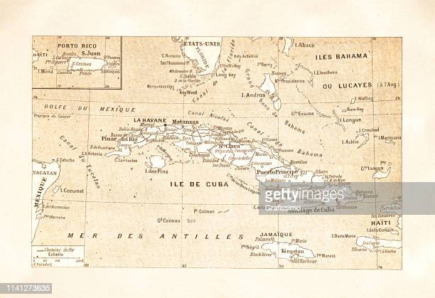 antique map of island cuba 1881 - cuban culture stock illustrations, clip art, cartoons, & icons
