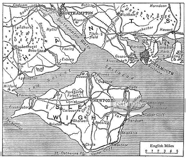 antique map of isle of wight - isle of wight stock illustrations