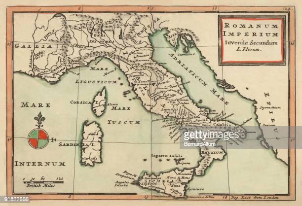 antique map of italy 1732 - sardinia stock illustrations, clip art, cartoons, & icons