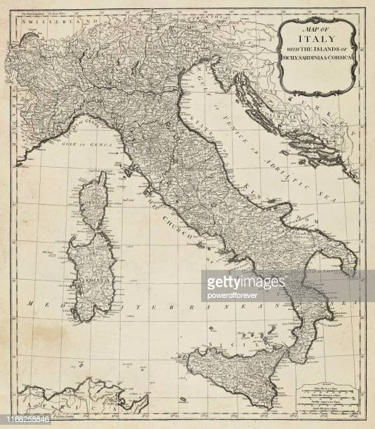 antique map of italy - 18th century - italy stock illustrations