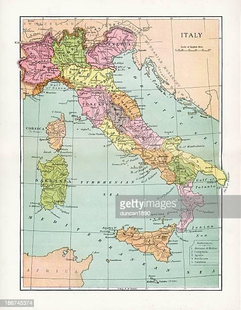 antique map of italy - sardinia stock illustrations, clip art, cartoons, & icons