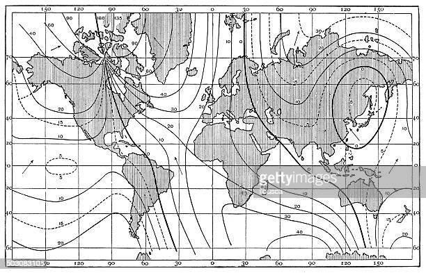 antique map of lines of equal magnetic declination, 1885 - magnet stock illustrations, clip art, cartoons, & icons