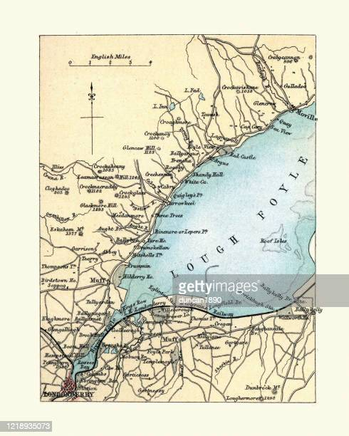 antique map of londonderry, northern ireland, 1890s, 19th century - derry northern ireland stock illustrations