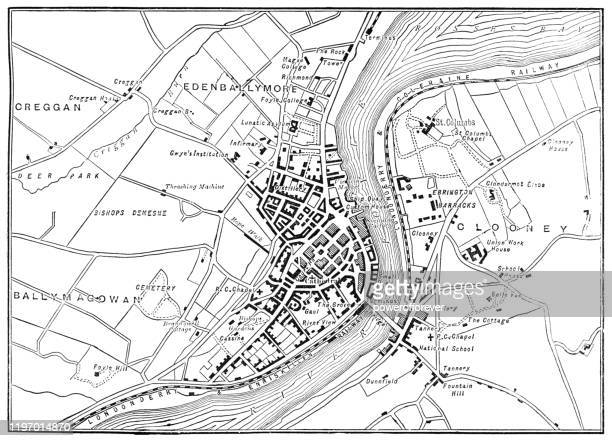 antique map of londonderry, northern ireland - 19th century - river foyle stock illustrations