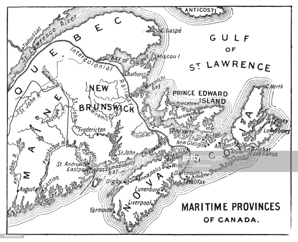 Antique Map of Maritime Provinces of Canada - 19th Century : stock illustration