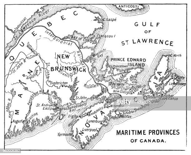 antique map of maritime provinces of canada - 19th century - atlantic ocean stock illustrations