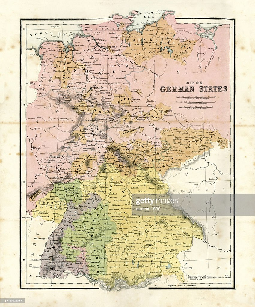 Antique Map Of Minor German States Stock Illustration | Getty Images