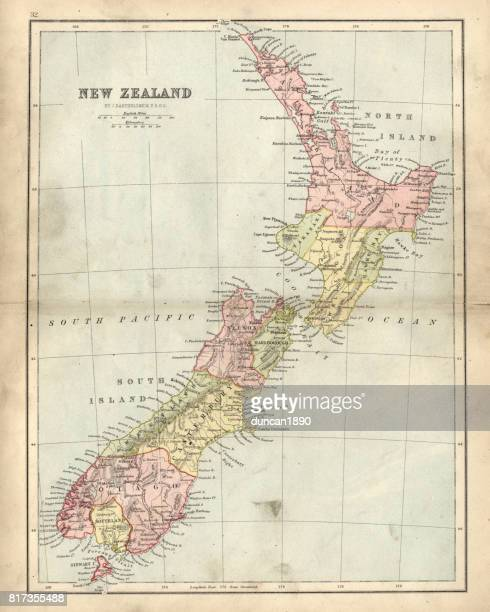 antique map of new zealand in the 19th century, 1873 - new zealand stock illustrations