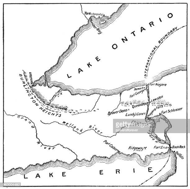 antique map of niagara river area during the war of 1812 - 19th century - niagara river stock illustrations