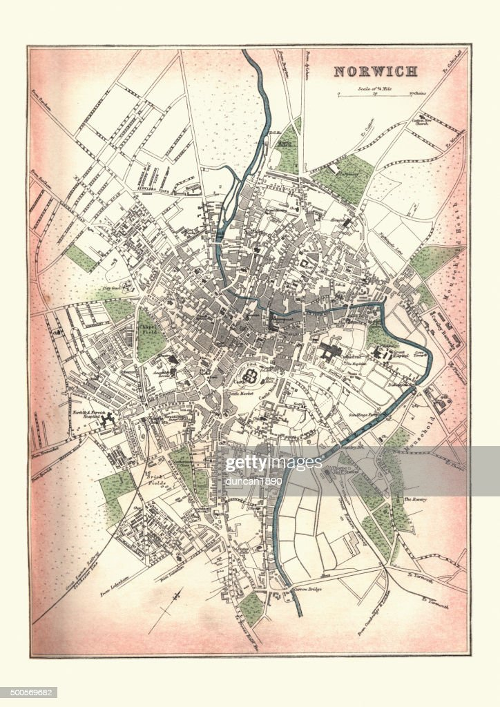 Carte Angleterre Norwich.Carte Antique De Norwich En Angleterre 1880 Illustration Getty Images