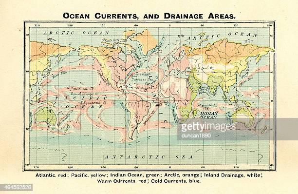 antique map of ocean currents and drainage areas 1897 - tide stock illustrations, clip art, cartoons, & icons