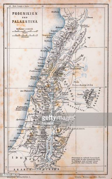 antique map of palestine and phoenicia - biblical event stock illustrations