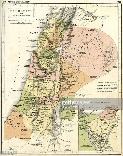 antique map of palestine - palestinian stock illustrations