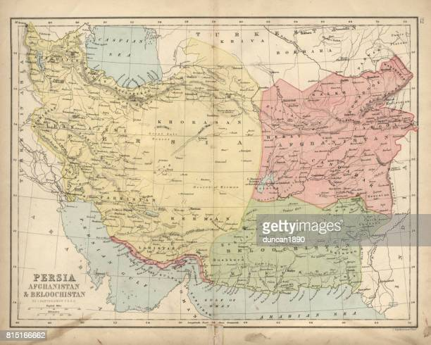 antique map of persia, afghanistan and beloochistan 19th century - iranian culture stock illustrations, clip art, cartoons, & icons