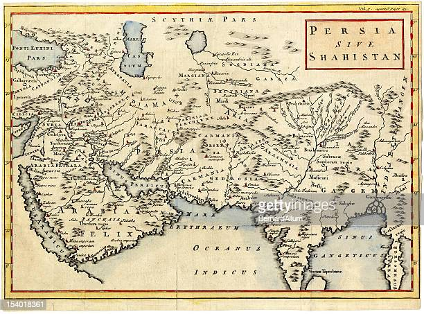antique map of persia and arabia 1730 - ancient stock illustrations