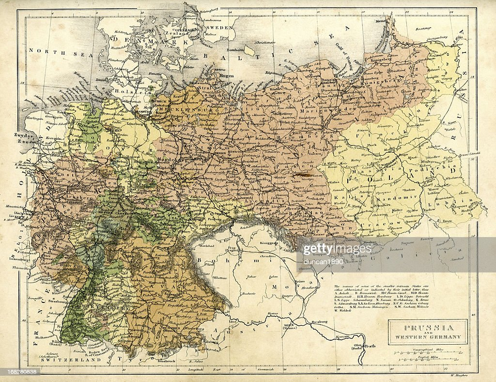 Antique Map Of Prussia And Western Germany Stock Illustration