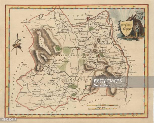Antique map of Queens County Ireland
