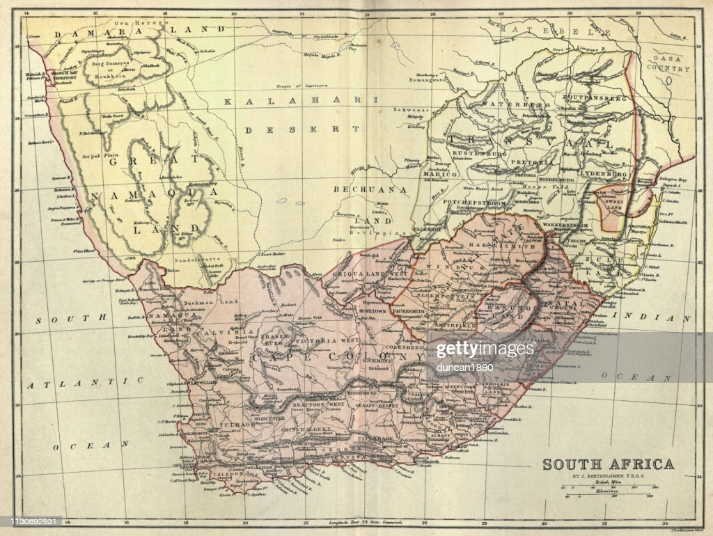 19th Century Africa Map.Antique Map Of South Africa 1884 19th Century Stock Illustration